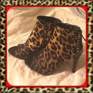 👑Leopard Peep toe ankle boots